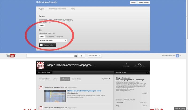 zmiana tła na YouTube