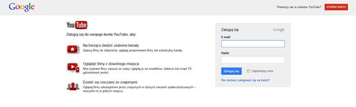logowanie do YouTube